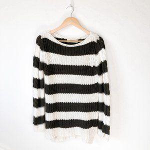 Zara Olive White Striped Chunky Knit Sweater Sz L